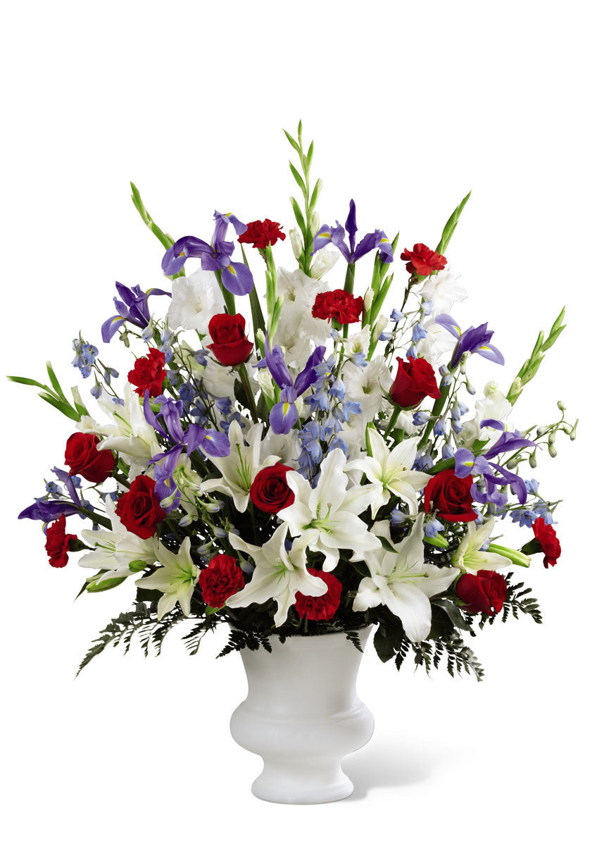 funeral flowers red white & blue basket premium