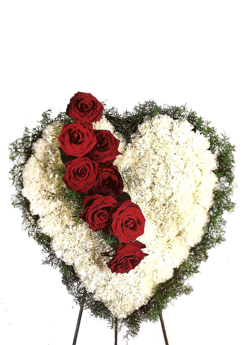Bleeding heart white with red roses georgewood florist funeral flowers bleeding heart izmirmasajfo