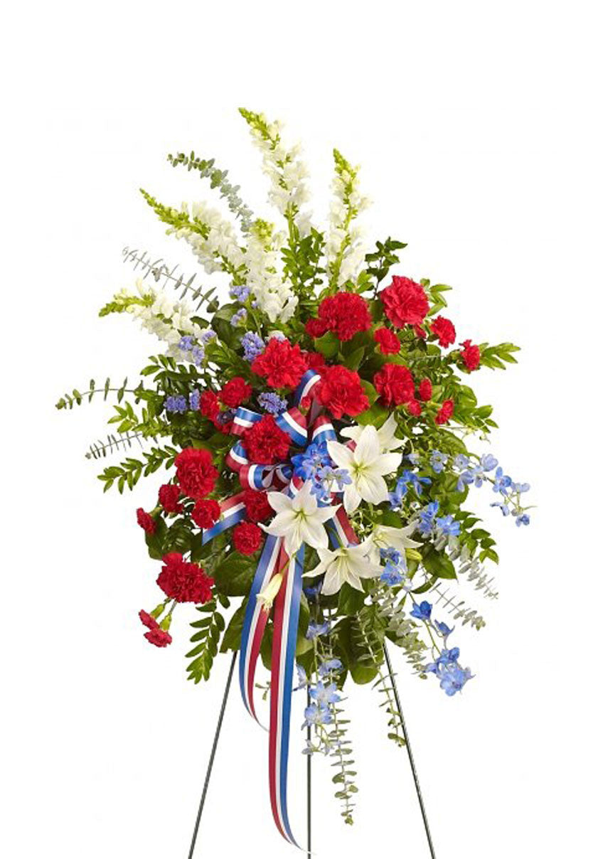 funeral flowers red white and blue standing spray