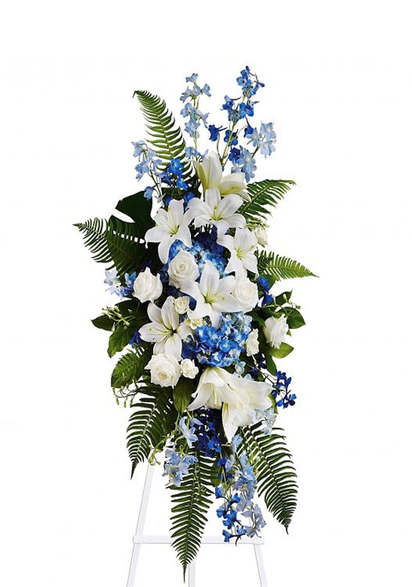 funeral flowers standing spray blue and white