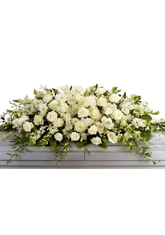 funeral flowers all white casket cover