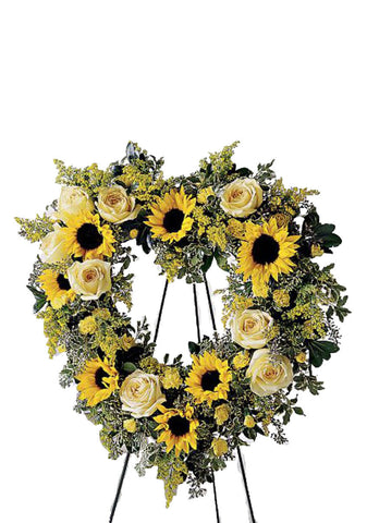 sympathy flowers yellow open heart wreath