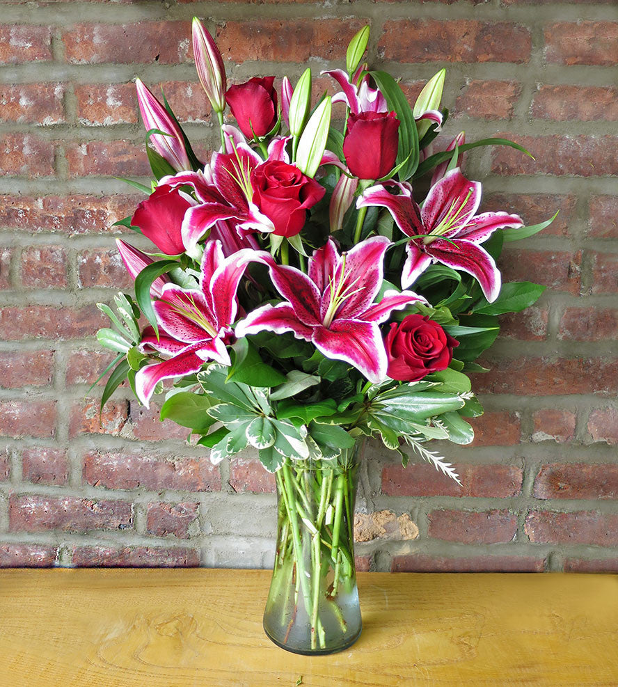 Oriental Lilies & Red Roses