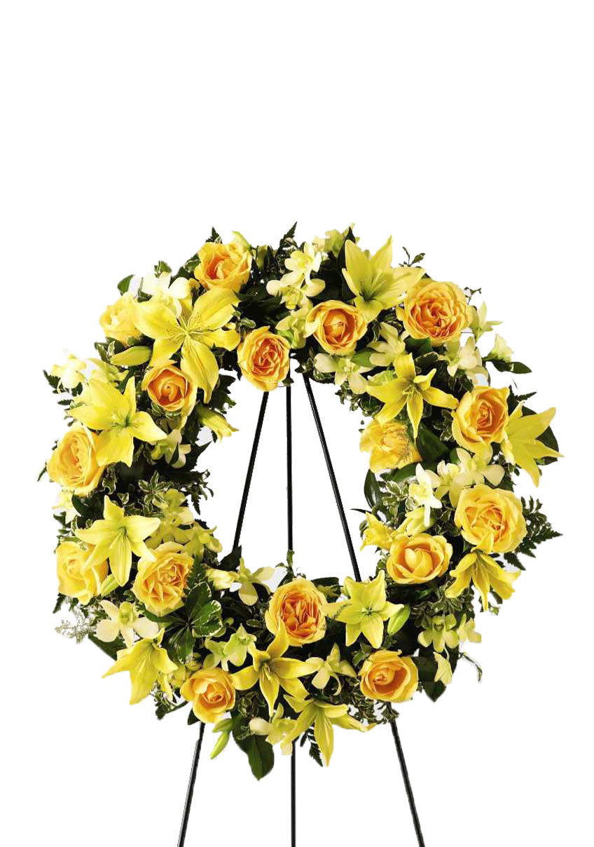 sympathy flowers yellow standing wreath