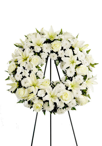 White Open Wreath Standing Spray