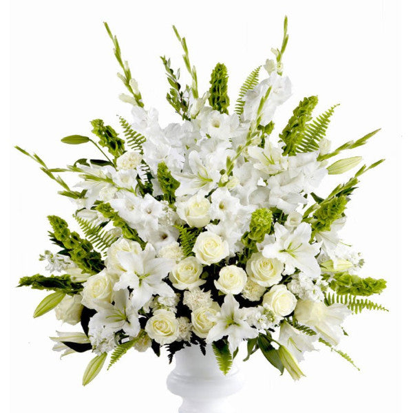 funeral flowers all white sympathy basket