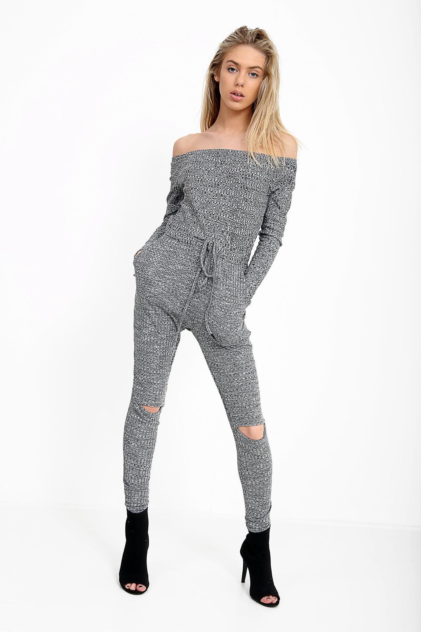 18d763e395 Slashed In My Knee Ribbed Bardot Lounge Jumpsuit – Kulture Chic Boutique