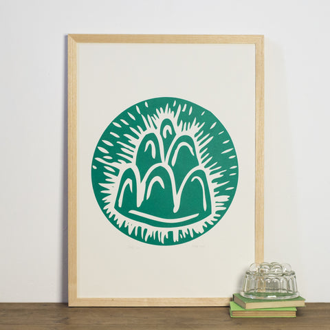 Green jelly screen print linocut