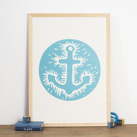 anchor screen print linocut