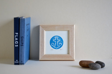 anchor linocut blue
