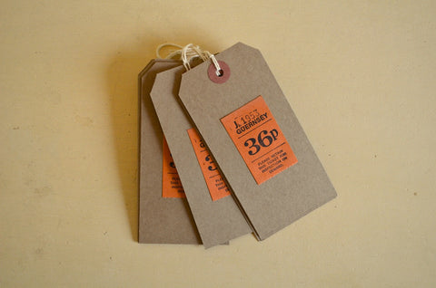 Vintage Guernsey bus tickets on brown gift tags
