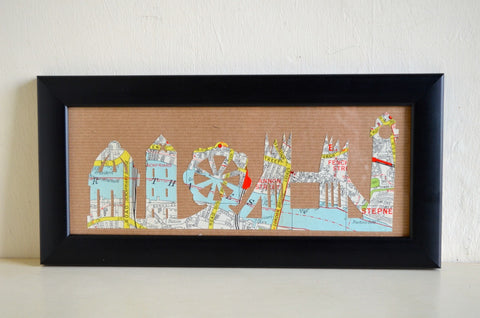 London skyline cut from vintage map