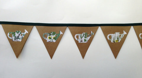 Watering can garden imagery bunting
