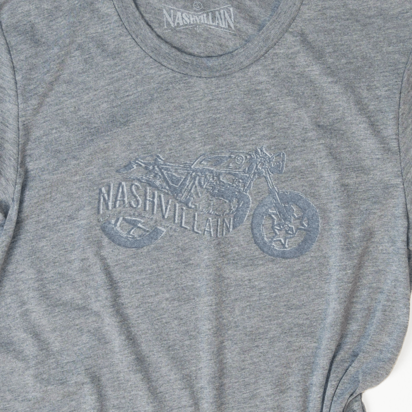Motorcycle Nashvillain Loud Pipes Save Lives grey tee