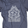 Snakes and skulls and nv tennessee tristar white ink design on blue shirt