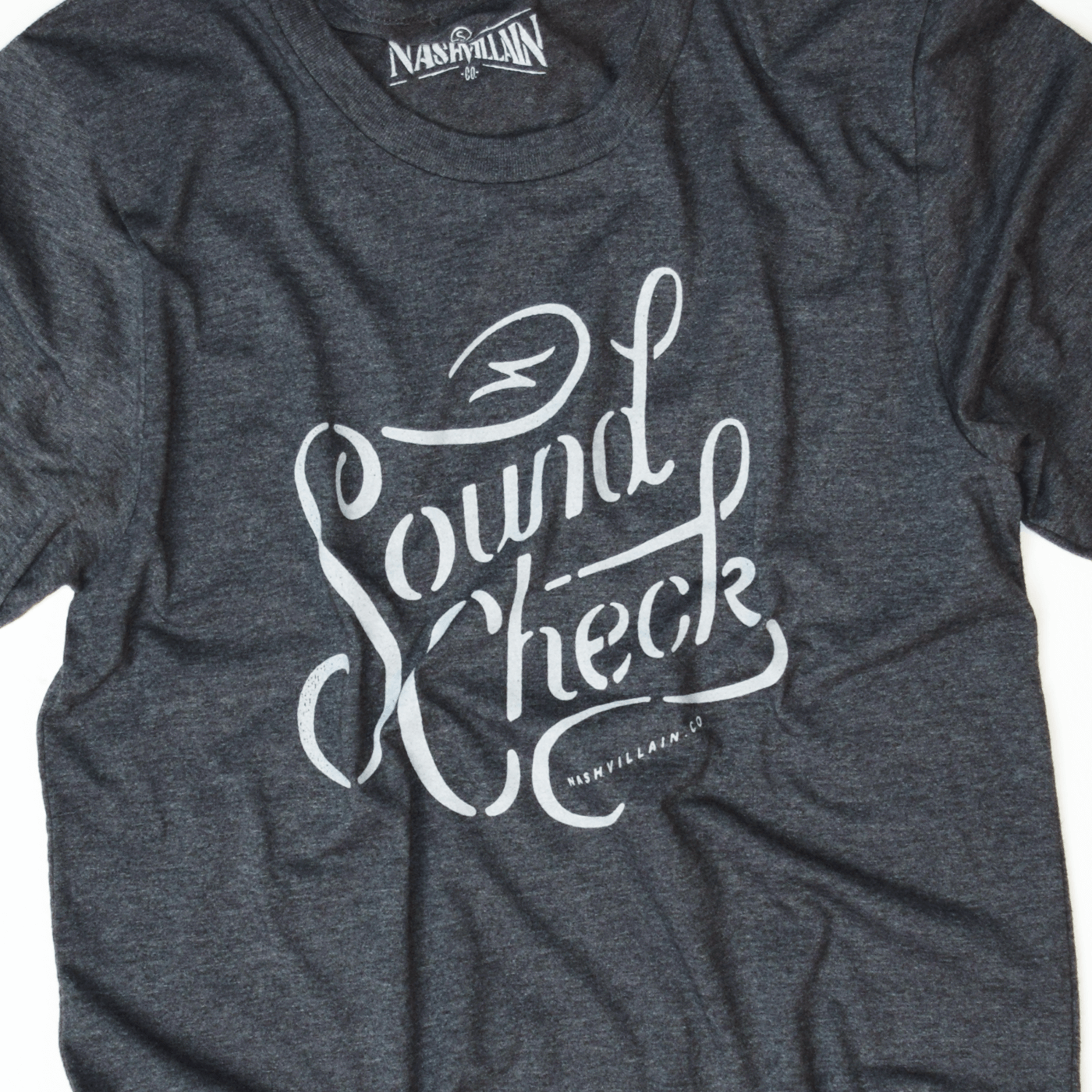 Soundcheck Nashvillain.co white ink design on charcoal shirt