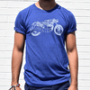 Motorcycle blue tee with model for Nashvillain Clothing Company in Nashville, Tennessee