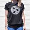 Tristar black tee with model for Nashvillain Clothing Company in Nashville, Tennessee