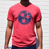 Tristar red tee with model for Nashvillain Clothing Company in Nashville, Tennessee