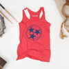 Inverse Tennesse Tristar Shirt design for a women's red tank top at Nashvillain Co