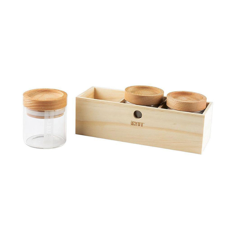 RYOT JAR BOX WITH 3 CLEAR JARS WITH BEECH LID