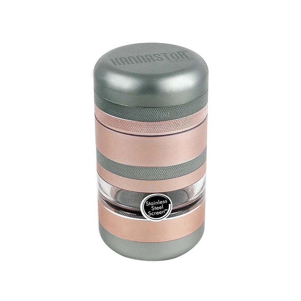 KANNASTOR GR8TR V2 SERIES GRINDER W/ JAR SCREEN CHAMBER AND STAINLESS EASY CHANGE SCREEN IN ROSE GOLD