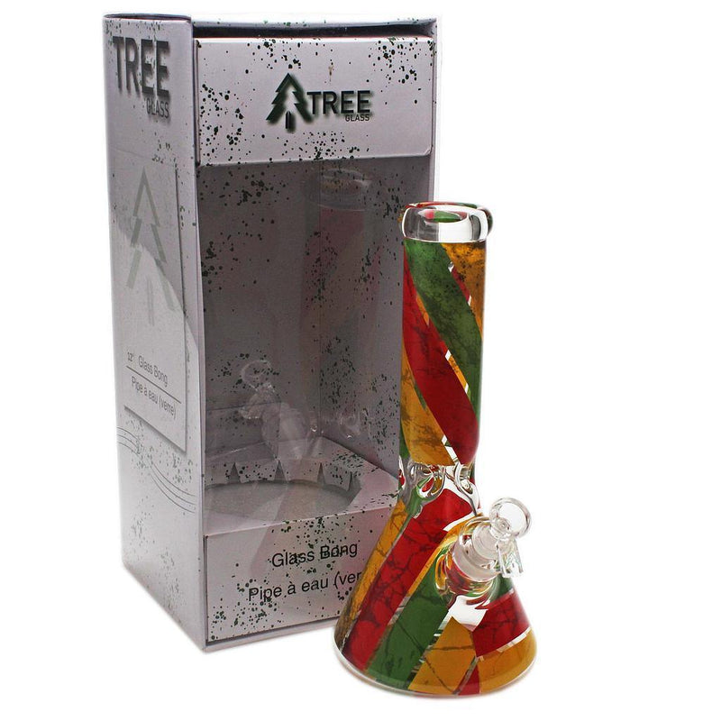 "Tree Glass 12"" 7mm Beaker Rasta Decal Glass Bong - Budders Cannabis"