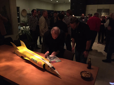 Craig Breedlove's new land speed racer introduced at Pete Brock's 2015 SEMA afterparty