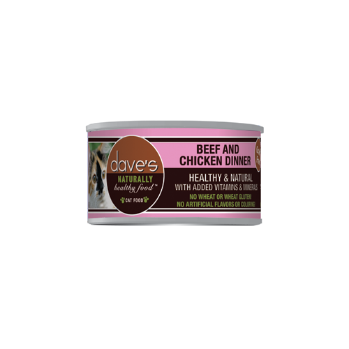 Dave's Pet Food Naturally Healthy Grain Free Beef and Chicken Canned Cat Food