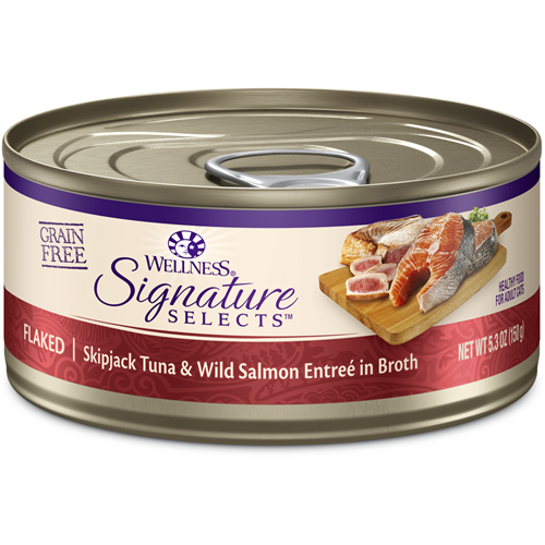 Wellness Signature Select Flaked Skipjack Tuna with Wild Salmon Entree in Broth Canned Cat Food