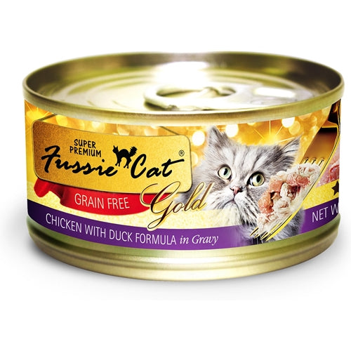 Fussie Cat Gold Super Premium Grain Free Chicken with Duck in Gravy Canned Cat Food
