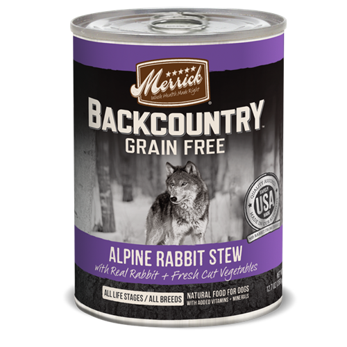 Merrick Grain Free Backcountry Alpine Rabbit Stew Canned Dog Food