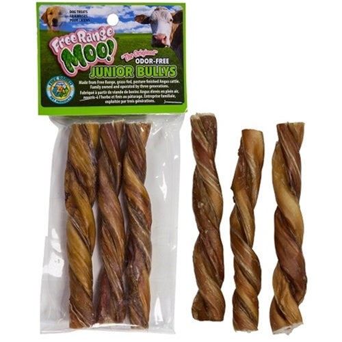 Free Range Dog Chews Moo! Junior Twisted Bullys