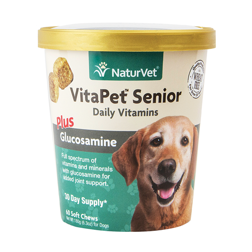 NaturVet VitaPet Senior Plus Glucosamine Soft Chews for Dogs NAN