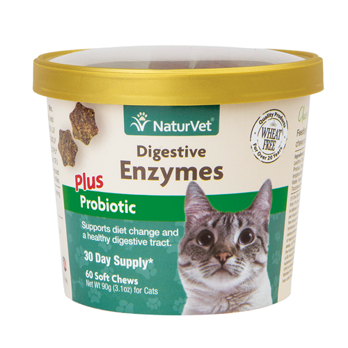 NaturVet Digestive Enzymes Plus Probiotic Cat Soft Chews NAN