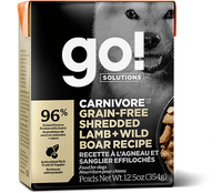 GO! CARNIVORE Grain Free Shredded Lamb + Wild Boar Recipe for dogs
