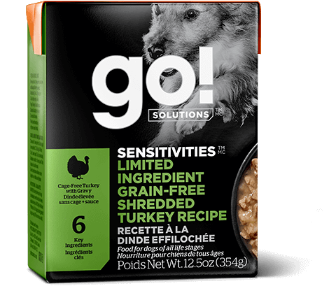 GO! SENSITIVITIES Limited Ingredient Grain Free Shredded Turkey Recipe for dogs