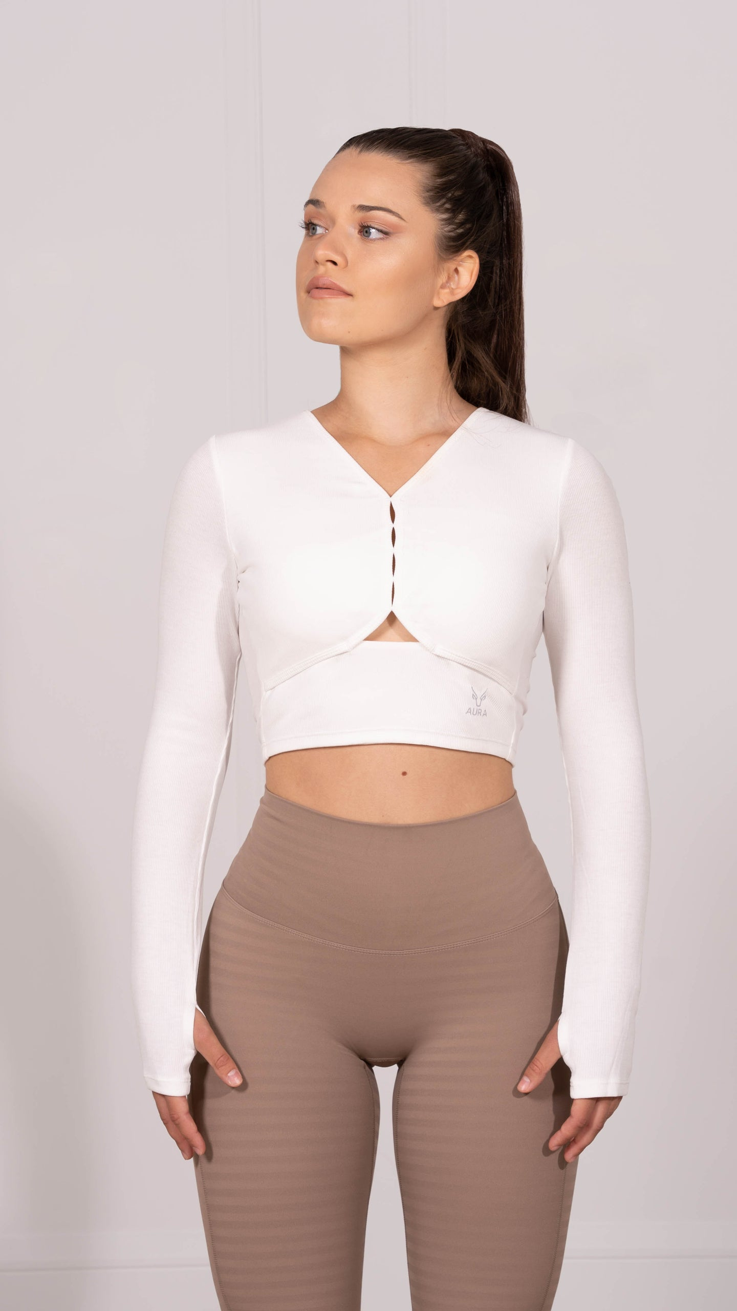 White Luna Lux Long Sleeve Crop Top