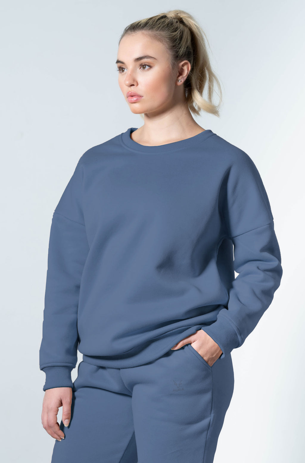 Snuggle'up Smoky Blue Oversized Sweater