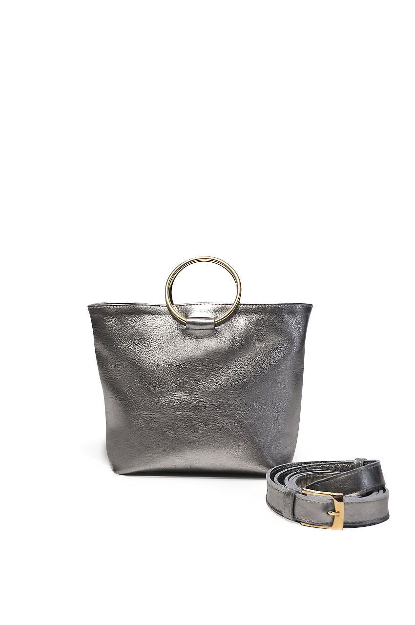 Mini Audrey Leather Crossbody Pewter - Positive Elements