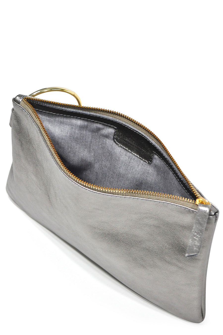 Gavi Leather Clutch - Pewter - Positive Elements