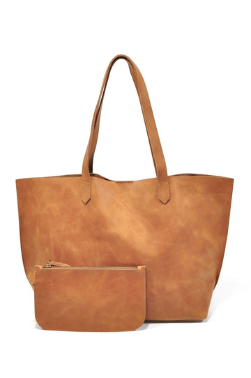 Edge Leather Tote - VINTAGE CAMEL - Positive Elements