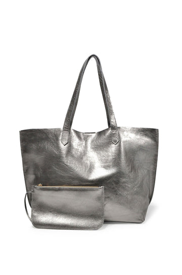 Edge Leather Tote - Pewter - Positive Elements
