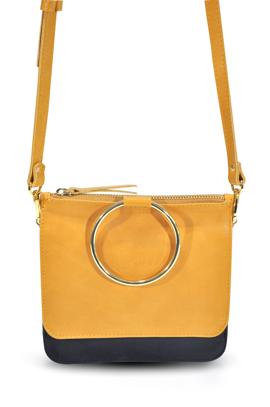 Joy Leather Cross Body Tan/Navy - Positive Elements