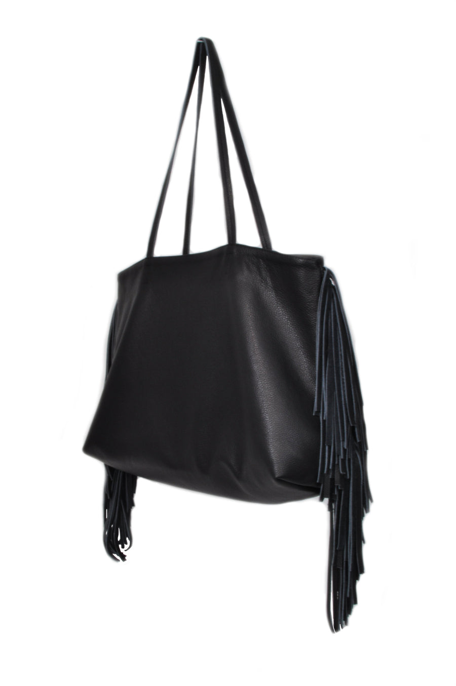 Leather Fringe Tote Black - Positive Elements