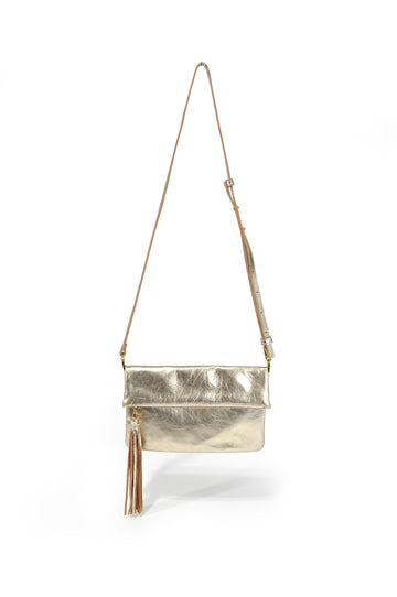 Tassel Leather Crossbody - Gold - Positive Elements