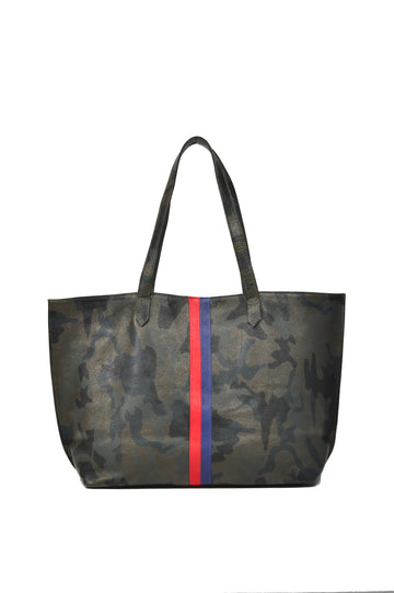 Striped Edge Camo Leather Tote - Green With Red/Navy - Positive Elements