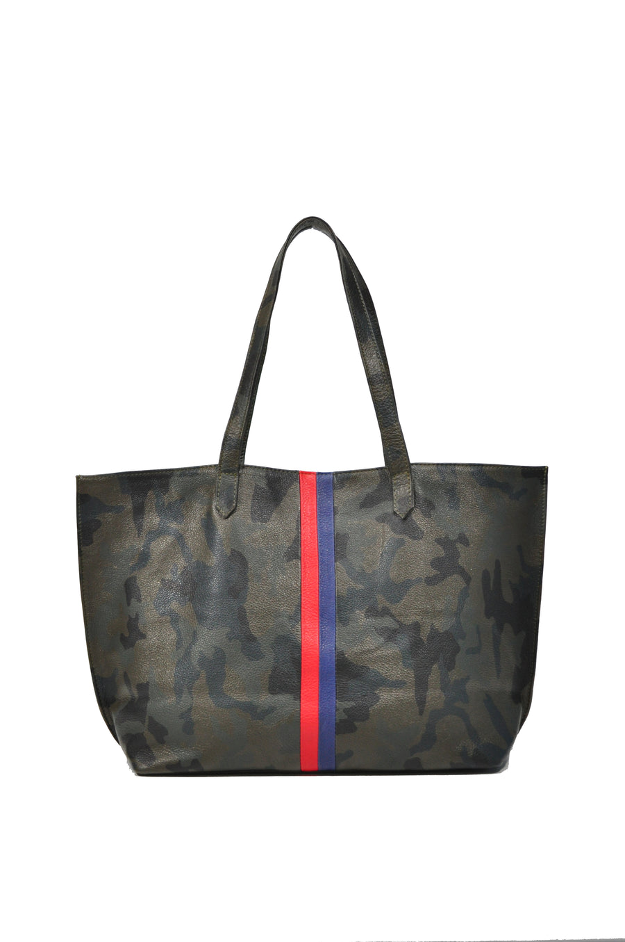 Edge Leather Tote  Green Camo With Red/Navy - Positive Elements