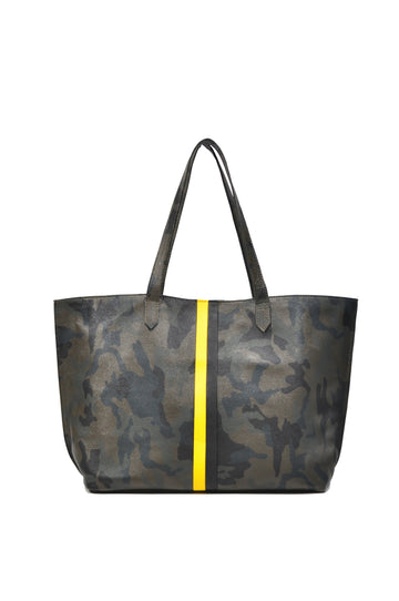 Striped Camo Leather Tote Green With Yellow/black - Positive Elements