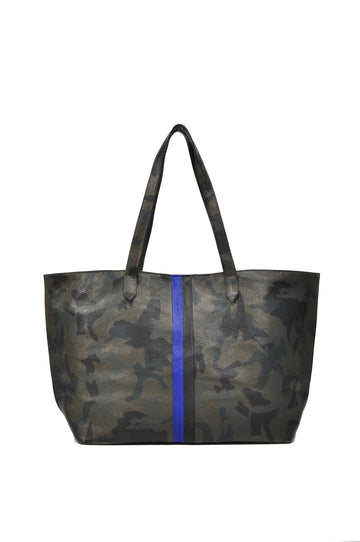 Striped Edge Camo Leather Tote - Green With Cobalt/Black - Positive Elements